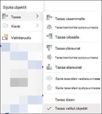 Verkko version PowerPointin Tasaa-valikko.