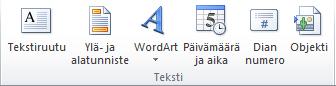 PowerPoint 2010 -valintanauhan Lisää-välilehden Teksti-ryhmä.