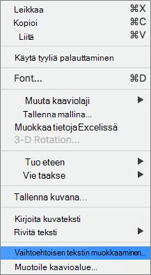 Vaihtoehtoisen tekstivaihtoehto pikavalikko vaihtoehtoisen tekstin lisääminen kaavioon