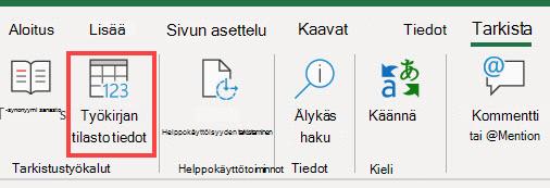 Työkirjan tilasto tiedot-komento Excel-valinta nauhassa