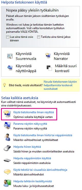 Windowsin Helppokäyttökeskus