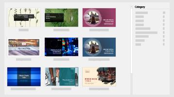 PowerPointin uusi näyttö, jossa näkyvät Pitch Deck-mallit