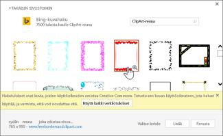 Käytettävän ClipArt-kuvan reunan valitseminen