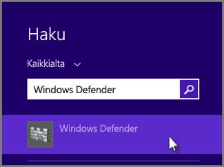 Kirjoita Windows Defender ja avaa se napsauttamalla hakutulosta.