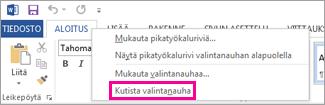 Kutista valintanauha -komento, joka tulee näkyviin, kun napsautat Word 2013:ssa valintanauhan välilehteä hiiren kakkospainikkeella
