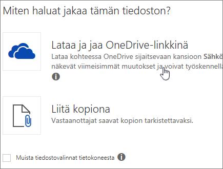 Näyttökuva Liite-valintaikkunasta, jossa näkyy vaihtoehto Lataa ja liitä tiedosto OneDrive-tiedostona.