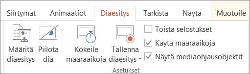 Toista selostukset -valintaruudun valinnan poistaminen Diaesitys-välilehdessä.