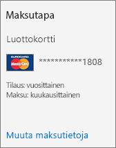 Luottokortilla maksettavan tilauksen tilauskortin Maksutapa-kohta.