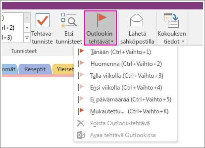 Näyttökuva OneNote 2016:n Outlook-tehtävät-painikkeesta