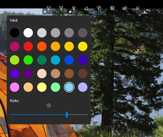 Microsoftin valokuvat -sovelluksen piirustusasetukset