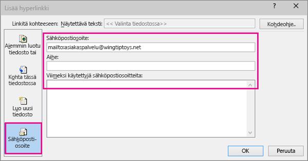Näyttää valintaikkunan, jossa on valittuna linkin lisääminen sähköpostiin