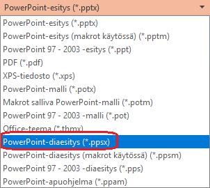 PowerPointin tiedostotyyppien luettelossa on vaihtoehto PowerPoint-diaesitys (.ppsx)
