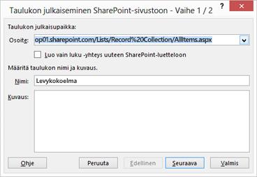 Vie SharePointiin -valintaikkunan sivu 1