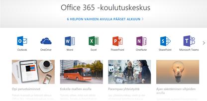 Office-koulutuskeskuksen aloitussivu, jossa näkyvät eri Office-sovellusten kuvakkeet ja käytettävissä olevien sisältötyyppien ruudut