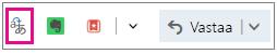 Outlook.com, jossa Kääntäjä-apuohjelman painike on korostettuna