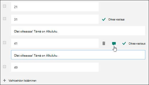 Koekysymys, jossa kahden oikean vastauksen vieressä oleva teksti ilmoittaa oikeasta vastauksesta.