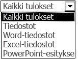 Tulosvaihtoehdot, jotka sisältävät Kaikki tulokset, Tiedostot, Word-tiedostot, Excel-tiedostot ja PowerPoint-esitykset