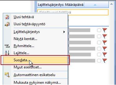 Tehtävät-luettelon Suodata-komento