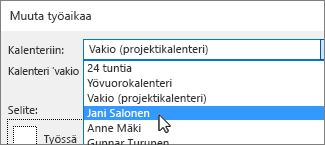 Resurssit Kalenteriin-luettelossa
