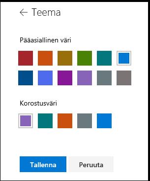 Teemavärien SharePoint-sivuston mukauttaminen