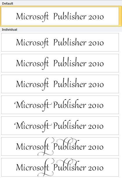 Publisher 2010:n tyylijoukko OpenType-fonttien typografisia lisäasetuksia varten