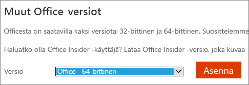 Näyttökuva avattavasta luettelosta, josta voidaan valita 64-bittisen Officen asennusvaihtoehto
