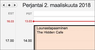 Lähennetty versio kalenterista, jossa vasemmalla puolella on kaksi eri aikavyöhykettä