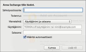 Anna Exchange-tilin tiedot