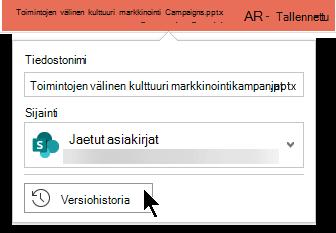 Valitse tiedoston nimi otsikko riviltä, jotta pääset käsiksi tiedoston versio historiaan