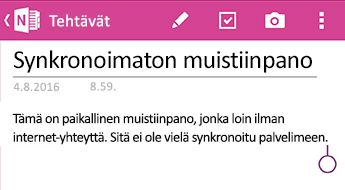 Synkronoimattomia Huomautus, valitse OneNote for Android