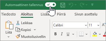 Automaattinen tallennus-kytkin Excelissä