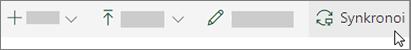 SharePoint online-työkalu rivi, jossa Synkronoi-vaihto ehto on valittuna