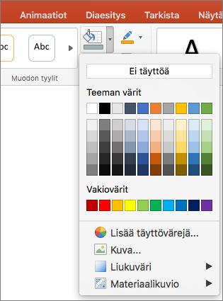 Näyttökuvassa näkyvät Muodon täyttö -valikossa olevat vaihtoehdot, kuten Ei täyttöä, Teeman värit, Vakiovärit, Lisää täyttövärejä, Kuva, Liukuväri ja Kuvio.