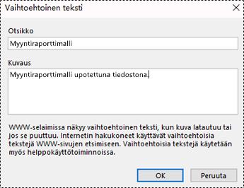 Vaihtoehtoisen tekstin lisääminen tiedoston tulostusvalintaikkunaan