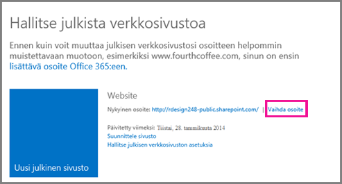 Julkisen verkkosivuston hallinta -sivun kohta Vaihda osoite.