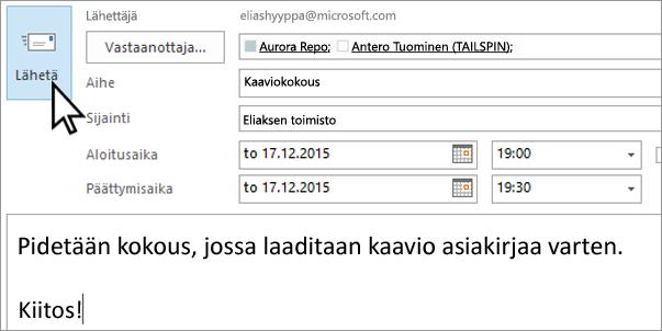 Henkilökohtaisen sähköpostikutsun lähettäminen