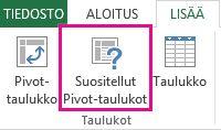 Excelin Lisää-välilehden suositellut Pivot-taulukot