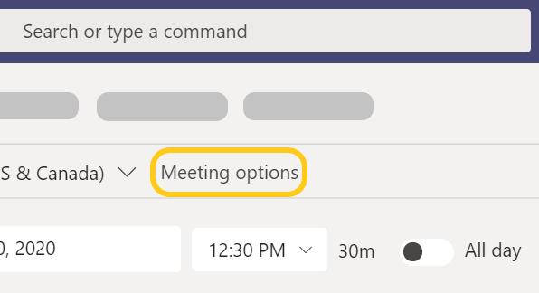 Kokousasetukset-painike korostettuna Teams-kokouksen ajoituksessa.