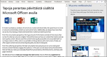 Asiakirja vasemmalla ja Muunna verkkosivuksi -ruutu oikealla