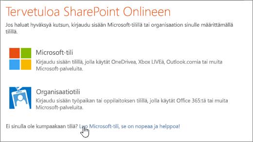 Näyttökuva, jossa näkyy SharePoint Onlinen sisäänkirjautumisnäyttö Microsoft-tilin luontilinkki valittuna.