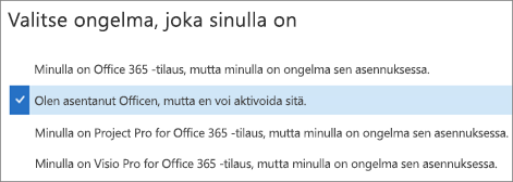 Näyttää Officen aktivointivaihtoehdon tuki- ja palautusavustajassa
