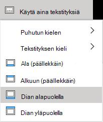 Tekstityksen asetukset PowerPoint Onlinessa.