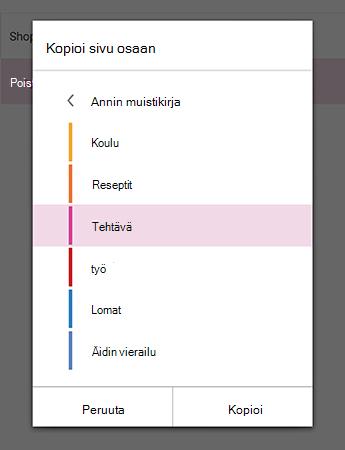 Kopioi sivun OneNote for Android-osio