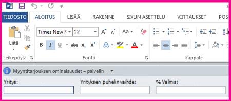Asiakirjan tietoruudun tekstikentät näkyvät lomakkeena, johon kerätään käyttäjien metatietoja.
