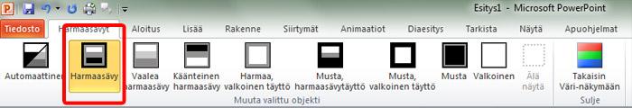 PowerPointin Harmaasävyt-välilehti, harmaasävy valittuna