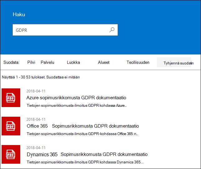 STP-hakutulokset - hakuehto GDPR