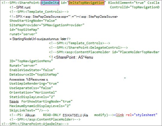 Näyttökuva poistettavasta DeltaTopNavigation-koodista
