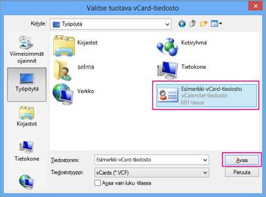 Valitse vCard-tiedosto, jonka haluat tuoda .csv:een.