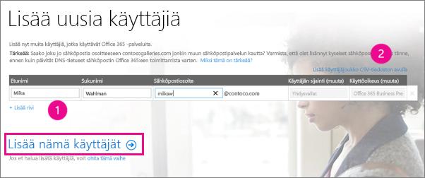 Lisää käyttäjiä Office 365 -vuokraajaan