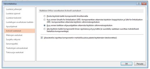 Luottamuskeskuksen ActiveX-asetukset-alue